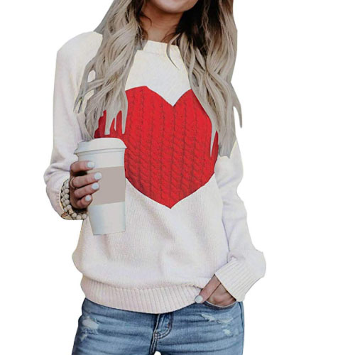 white sweater with huge heart
