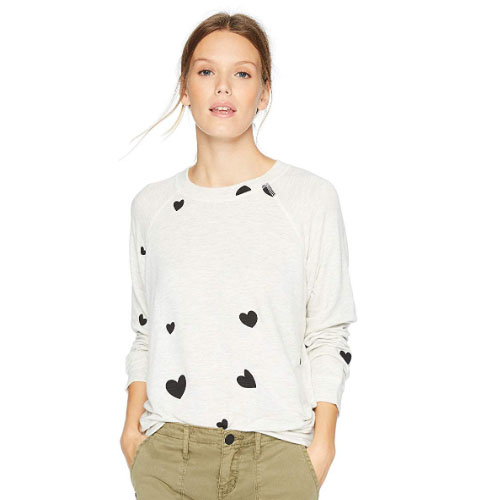 woman sweater with hearts on it