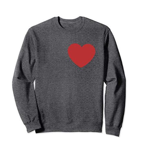 men grey sweatshirt with huge heart symbol on it