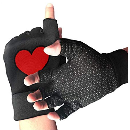 Fingerless gloves with heart shaped symbol on it