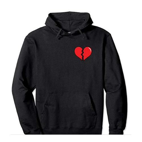 men hoodie sweatshirt with broken heart on it