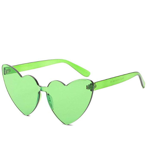 Cat style heart shaped rimless sunglasses plastic