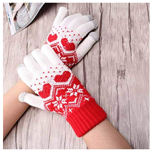 Cozy heart gloves for winter and christmas gift