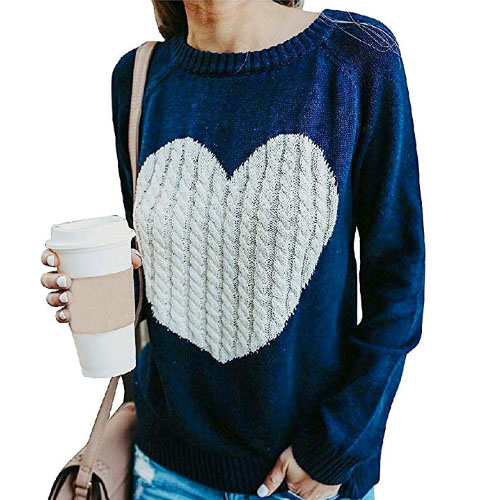 blue sweater with big white knitted heart