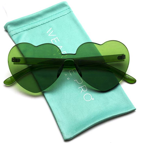 Dark green heart sunglasses with case