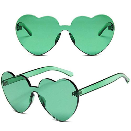 rimless dark green transparent heart shaped sunglasses