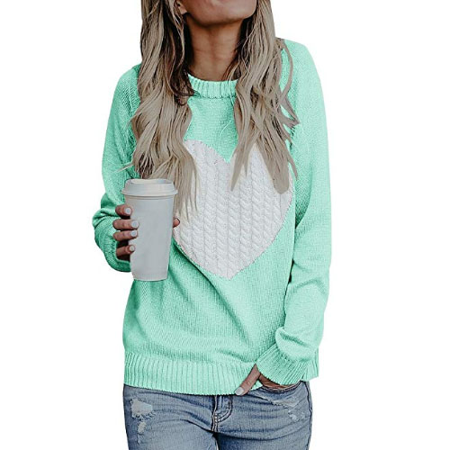women teenager sweater with big heart on it
