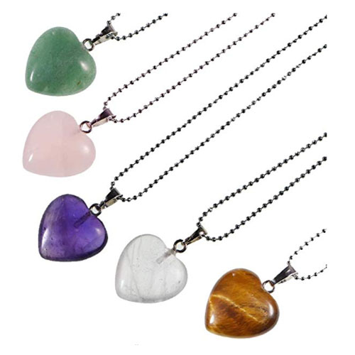 5 set heart stone pendants for bff