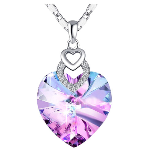 Swarovski crystals women heart-shaped pendant gift for valentines girlfriend