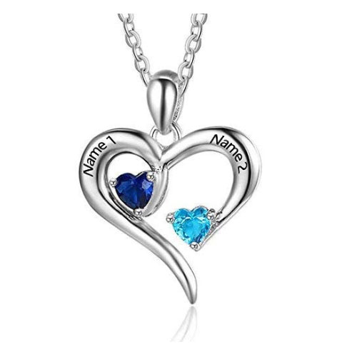 Personalized 2 names simulated birthstones - heart shaped necklaces