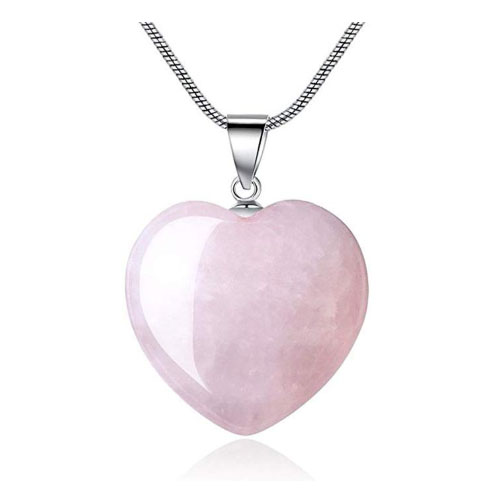 Rose quartz heart shaped love pendant for girlfriend