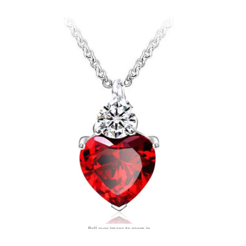 Queen of hearts - heart shaped pendant with ruby birthstone gift for girlfriend
