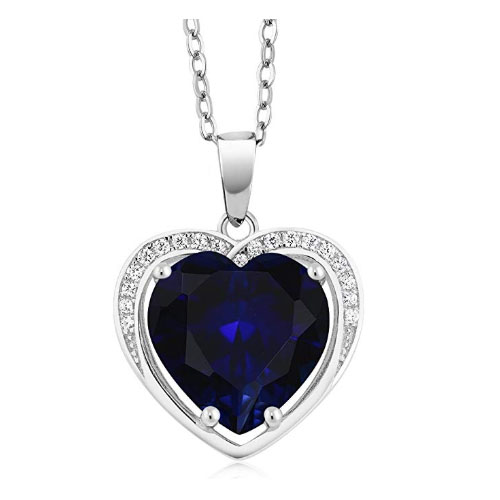 Sapphire heart shaped pendant with sterling silver frame romantic gift for wife