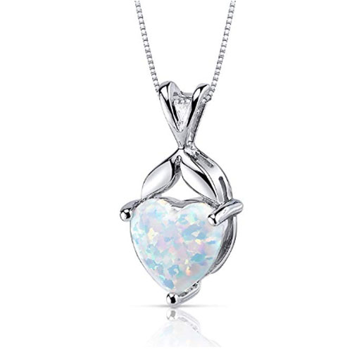 Created Opal Pendant Necklace Sterling Silver Heart Shape 2.50 Carats