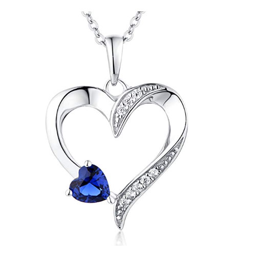 Heart necklace with small heart sapphire women jewelry