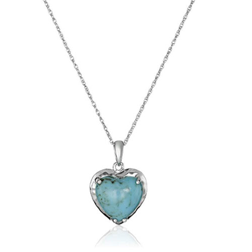 Heart pendant turquoise bohemian gift for wife christmas