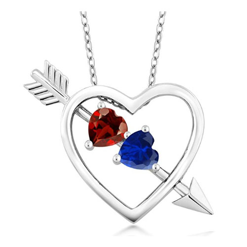 Heart love necklace with gemstones and sterling silver