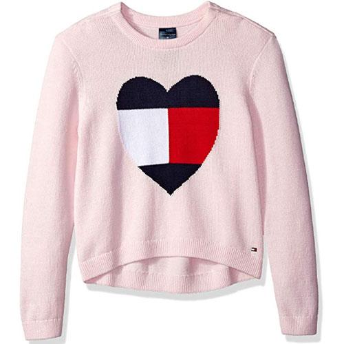 women pink heart sweatshirt tommy hilfiger