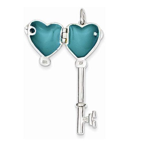 Key heart shaped locket pendant with photo inside