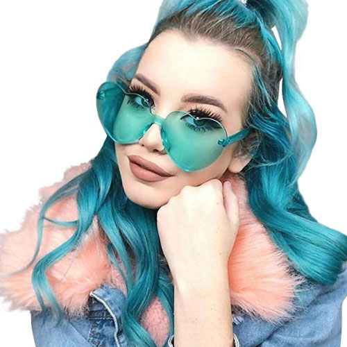 frameless light green heart shaped glasses for teenagers girls