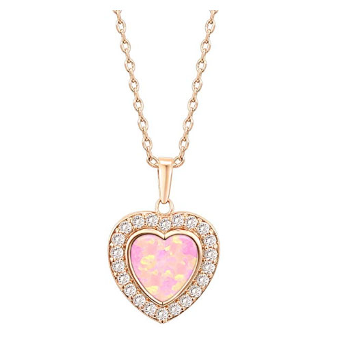 Pale pink heart-shaped necklace with diamonds and gold chain