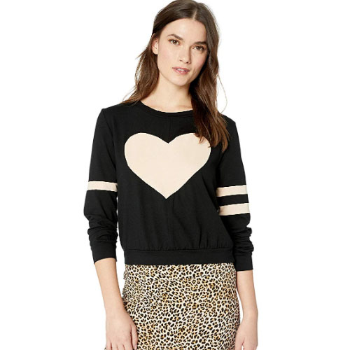 black and white heart knitted woman sweater