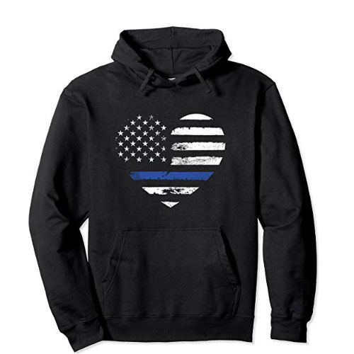 thin blue line heart sweater hoodie