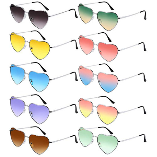 Multicolor 10 pack of sunglasses whose lenses have the shape of the love heart symbol