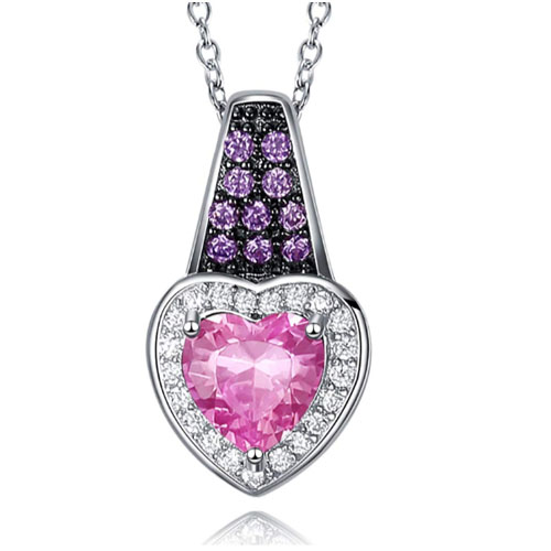 Bright pink heartshaped necklace for girlfriend