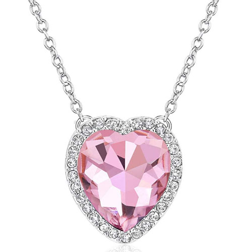 Pink diamond heart necklace for girlfriend