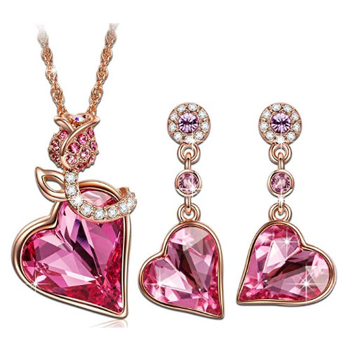 Pink heart shaped pendant necklace with matching earrings