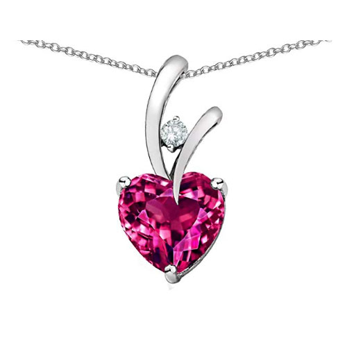 Bright dark pink heart shaped pendant with silver chain