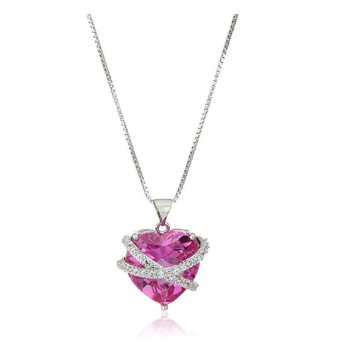 Bright diamond pink heart shaped pendant for girlfriend