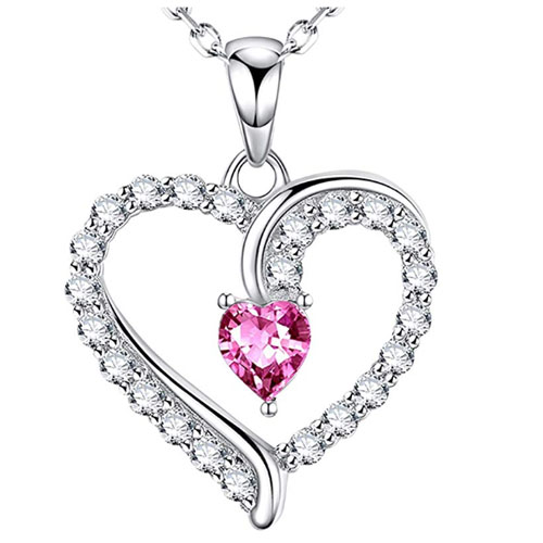 elegant pink heart shaped pendant for wife