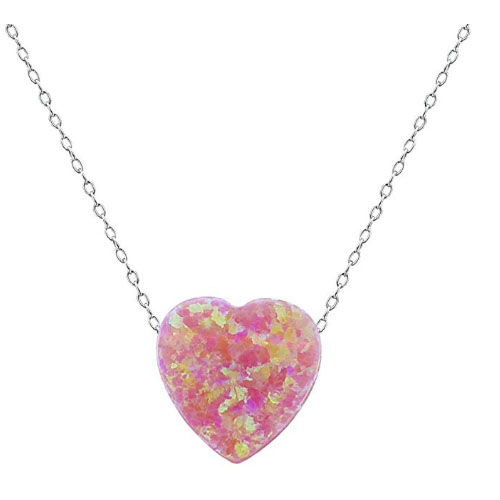 Natural crystals pink heart shaped necklace for girlfriend under 20 dollars