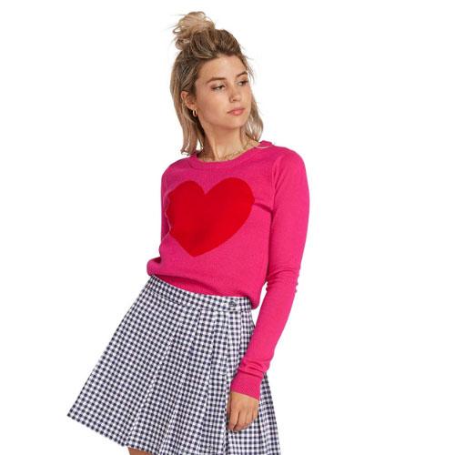 girl teenager pink heart sweater