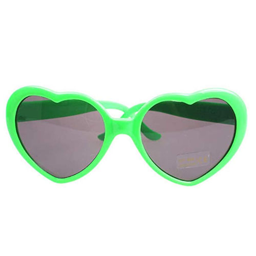 Plastic light green heart shaped sunglasses for children