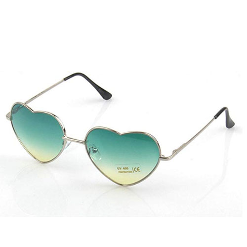 Polarized sunglasses with green heart shaped lenses and metal frame