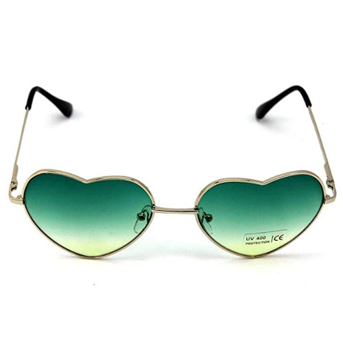 Heart-shaped sunglasses with dark green polarized lenses