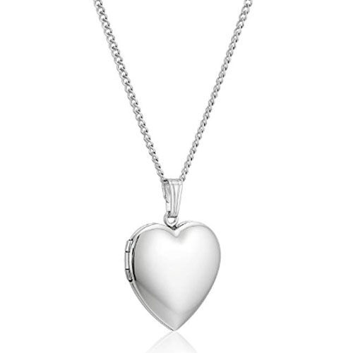 polished sterling silver heart shaped locket