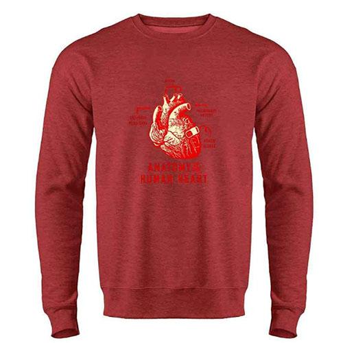 red anatomical heart sweatshirt for men