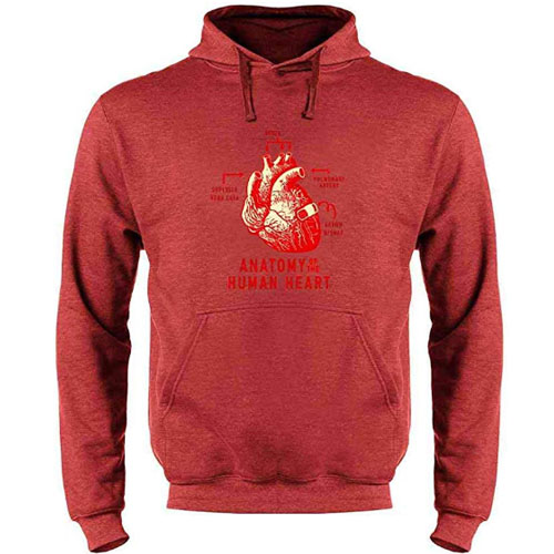 red hoodie sweater with anatomical heart on it