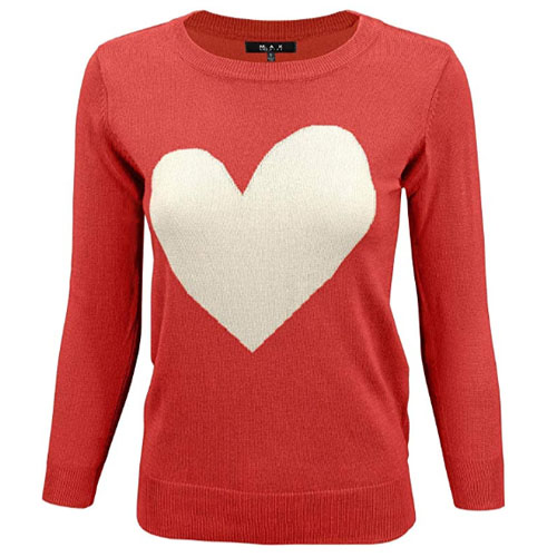 medium size red sweatshirt with white heart on it