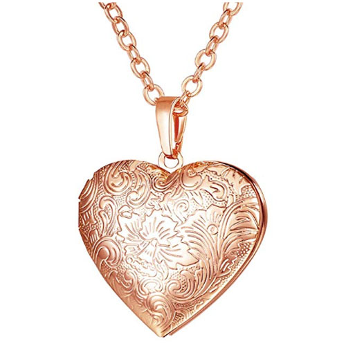 Engraved rose gold heart shaped locket pendant to put a picture inside