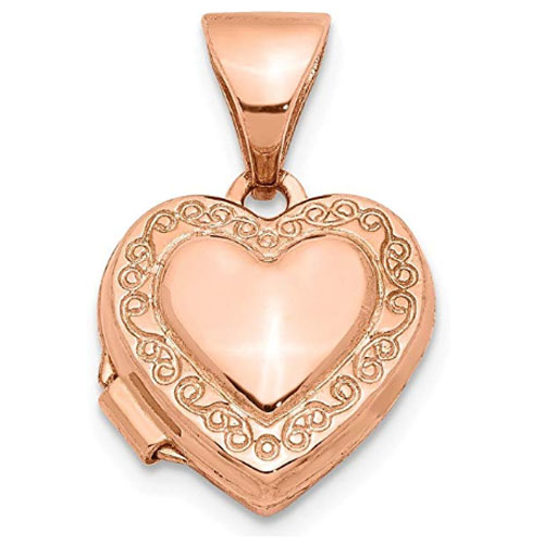 tiny heart shaped locket pendant made with rose gold genuine