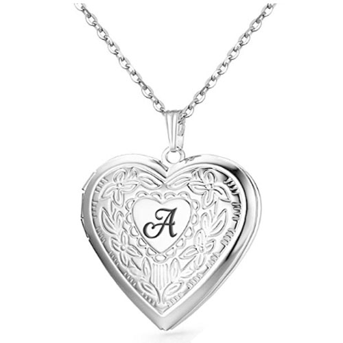 flower engraved polished locket pendant with the shape of a heart logo