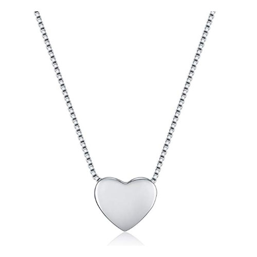 Polished heart-shaped necklace sterling silver