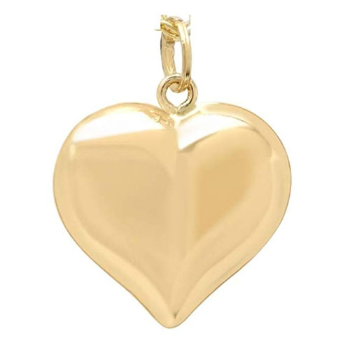 Solid gold heart pendant charm gift for girlfriend