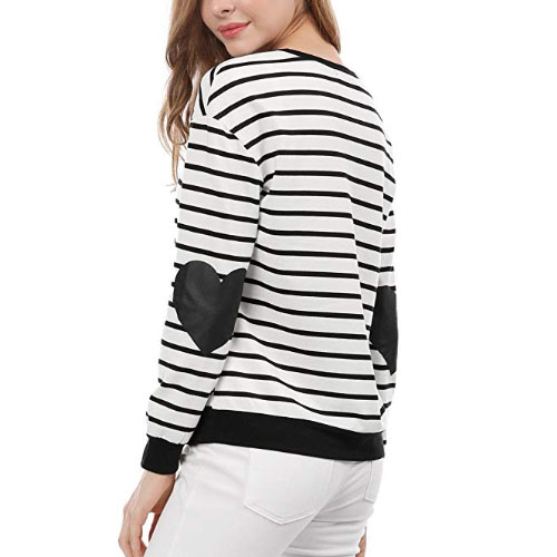 woman sweater with hearts on the elbows