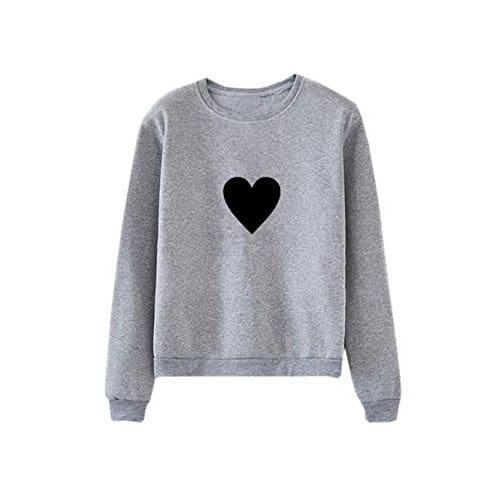 Grey sweatshirt with heart-shaped symbol